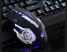 FREE WOLF Wired LED Light 4000DPI Optical Usb Pro Gamer Gaming Mouse Metal Plate
