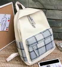Womens Unisex Beige Check Blue White Tartan Cotton Canvas Bag Backpack Couples