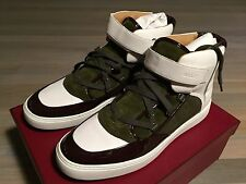 700$ Bally Osman Green and White Leather High Tops Sneakers size US 13