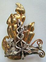 BIG VINTAGE HAND CRAFTED GOLD & SILVER TONE MEDICAL PIN BROOCH
