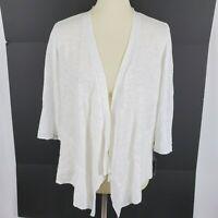 Alfani womens open front cardigan plus size 1X white semi sheer 3/4 sleeves new