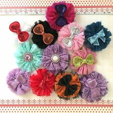 """NEW TUTU LACE FLOWER CHIC SHABBY HAIRCLIP- 3.5"""" BOW SEQUINS-ORANGE ON BLACK"""