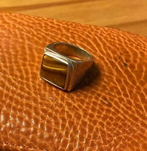 Rustic Signet Ring, Sterling Silver With Rhodium Plating, Tiger-eye, Size 8