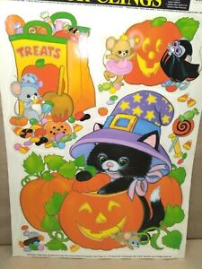 Vintage Halloween Window Decorations Static Color Clings