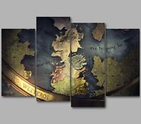 XL A Game of Thrones Intro Map of Westeros 4 Panel Split Canvas Picture Wall Art