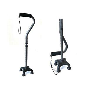 Ez2care Adjustable Folding Quad Cane, Lightweight, Metallic Grey