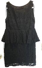 """TFNC London"" Womens Agatha Black Lace Peplum V-Back Cocktail Dress w/Zipper~12"