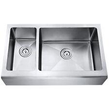 """AZ203R - 33"""" Stainless Steel Double Bowl Farmhouse Apron Kitchen Sink"""