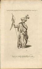 "original 1760 illustration "" habit of a turkish standard bearer in 1749 """