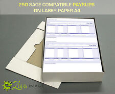 250 SAGE COMPATIBLE PAYSLIPS ON LASER PAPER A4 210 X 297mm 2 UP