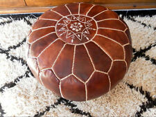 MOROCCAN OAK HAND STITCHED LEATHER POUFFE- STUFFED FREE