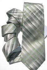 NEW Mens Silk Tie Necktie Silver Fern Green Diagonal Stripe Alfani A988
