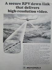 12/1976 PUB MOTOROLA DRONE TACTICAL RPV HIGH RESOLUTION VIDEO ORIGINAL AD