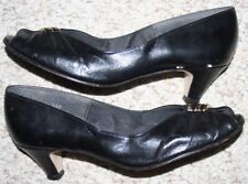 Shoes Hush Puppies Heels 8 Black Leather Womens Dress Eight 2-Inch High Heel