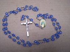La Milagrosa Rosary with Light Blue Plastic Beads - Mexico