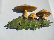 Vintage 1970's Plastic Mushroom Toad Stools Frog 3D Wall Art Dart Ind.