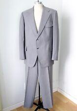 Vtg 70s Superfly Gray Chevron Pinstripe 2-Pc Disco Pimp Suit Wide Leg Pants 48