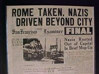 VINTAGE NEWSPAPER HEADLINE ~WORLD WAR 2 GERMANY NAZI ARMY OUT OF ROME WWII 1944