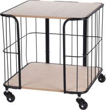 Metall Beistelltisch auf Rollen - 2 Holz Böden - Rollwagen Haushaltswagen Tisch