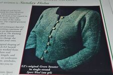 Schoolhouse Press Knitting Pattern 13 Zimmerman's Green Sweater 36-48