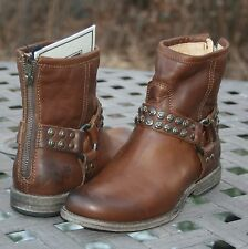 FRYE PHILLIP STUDDED HARNESS US 6.5 Woman's Motorcycle Boot Cognac