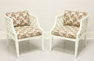 Harden Furniture Mid Century Ivory Painted Occasional Chairs - Pair
