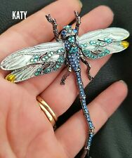 Large Articulated Big Dragonfly Crystal Broach Vintage Style Blue BROOCH Pin