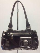 COLE HAAN Black Patent Leather Outer Buckle Pocket Zip Close Shoulder Bag B4548