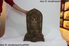 Chinese Buddhism Pure Silver inlay turquoise coral Gem crystal Sakyamuni Buddha