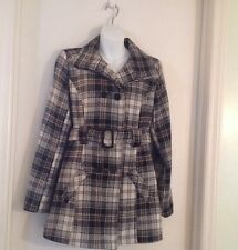 Plaid Double Breasted Belted Wool Blend Jacket size Medium