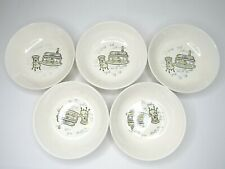 5 Vintage Marcrest Stetson Piano Chair Lamp Pattern Cereal Soup Bowl Yellow Gray
