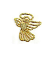 "Angel - Gold Metallic -  Embroidered Iron On Applique Patch - 1-1/2""H - L"