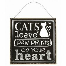 "Sass Belle Retro Black ""Cats Leave Paw Print on Heart"" Metal Hanging Sign 22cm"
