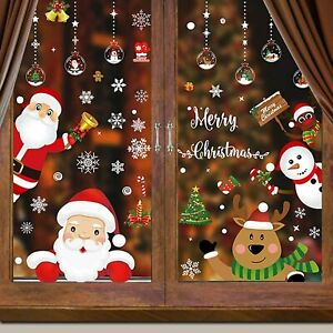 318 PCS 12 Sheets Christmas Snowflake Window Cling Stickers for Glass