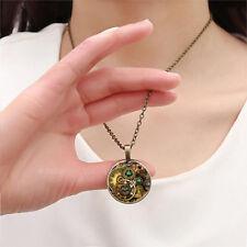 Vintage Compass watch Cabochon Bronze Glass Chain Fashion Pendant Necklace