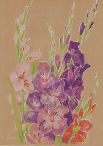 original drawing A3 291YL art samovar modern pastel female flowers gladiolus