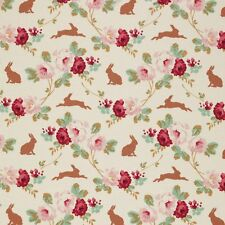 Tilda ~ Cabbage Rose Rabbit and Roses Linen Fabric / quilting dressmaking cream