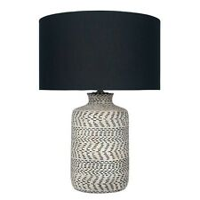 Barker and Stonehouse Natural And Black Weave Stoneware Table Lamp (pair)