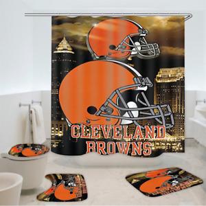 Cleveland Browns Bathroom Rugs Set 4PCS Shower Curtain Toilet Lid Cover Decor