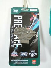 2015 Indianapolis 500 Silver Pit Badge Pre-Race Pit Garage Credential & Lanyard