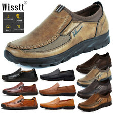 Mens Casual Leather Driving Shoes Breathable Antiskid Slip On Loafers Moccasins