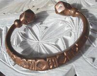 Niger Tuareg tarnished large hand engraved  heavy copper bracelet +diamonds
