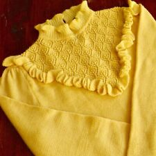 *Vintage 70's Yellow Fine Wool Lace Bib Frills Jumper CroppedLength FANTASTIC 12