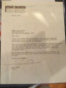 Jesse Owens signed letter
