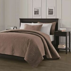 Taupe Brown Embossed Oversized 3 pc Quilt Set Coverlet Queen King Size Bedding