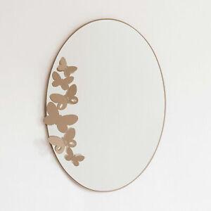 Arti e Mestieri Specchio da parete ovale Butterfly Beige Metallo farfalle