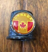 Canadian Collectible Metal Thimble Canada Souvenir Silver Tone Red Yellow Leaf