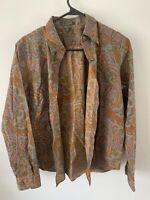 Women's Ralph Lauren (LRL) Paisley Button Down Shirt - Size Medium - Long Sleeve