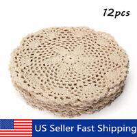 """12x8"""" Vintage Floral Hand Crochet Cotton Beige Doily Round Flower Tabl"""