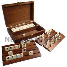 TRAVEL RUMMY Board Game Set WOOD Wooden Case Mini Small Box Racks Tiles Classic